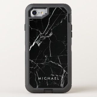 Funny Cracked Black Marble Texture Name OtterBox Defender iPhone 8/7 Case