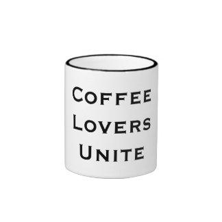 Funny Cute Coffee Lovers Unite Ringer Coffee Mug