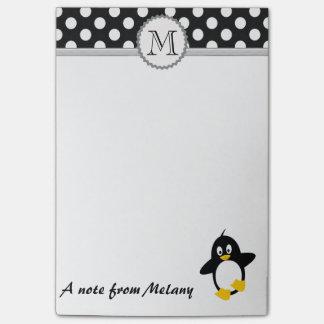 Funny cute girly penguin polka dots monogram post-it notes