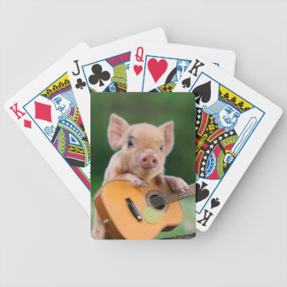 Funny Cute Pig Playing Guitar Bicycle Playing Cards