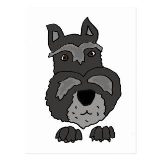 Funny Cute Schnauzer Dog Art Postcard