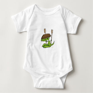 Funny dinosaur with a rowing boat baby bodysuit