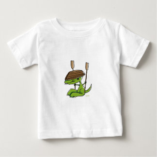 Funny dinosaur with a rowing boat baby T-Shirt
