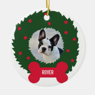 Funny Dog Lover's Christmas Wreath With Dog Photo Christmas Ornament