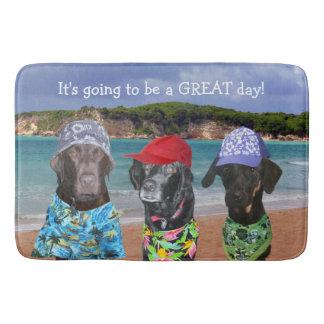 Funny Dogs on the Beach Bath Mat