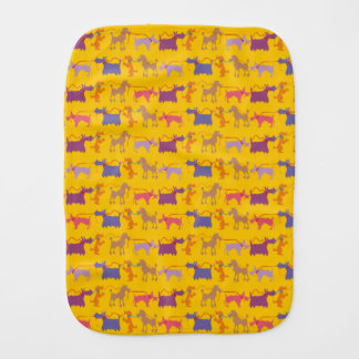Funny dogs with lead. baby burp cloth