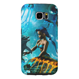 Funny dolphin playing with cute mermaid samsung galaxy s6 cases