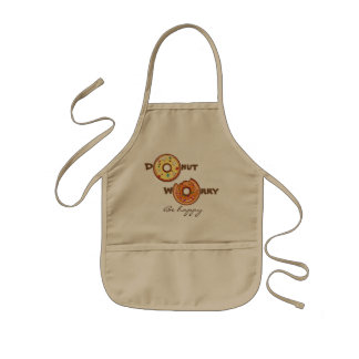"""Funny """"Donut worry, be happy"""" Kids Apron"""