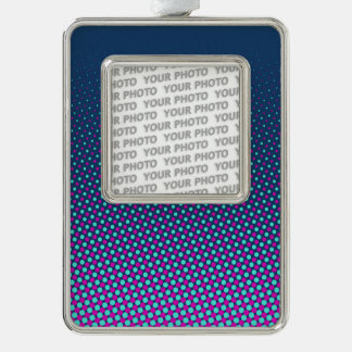 Funny Dots Pattern blue pink cyan + your photo Silver Plated Framed Ornament