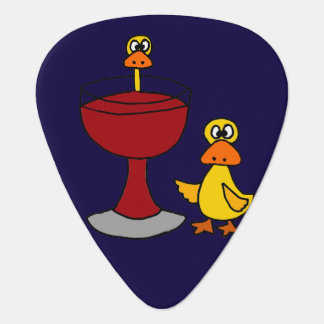 Funny Ducks and Red Wine Glass Plectrum