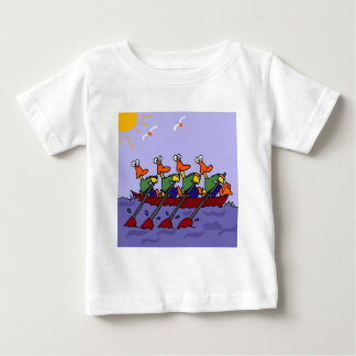 Funny Ducks in a Row Cartoon Baby T-Shirt