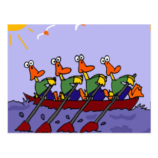 Funny Ducks in a Row Cartoon Postcard