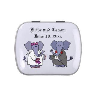 Funny Elephant Bride and Groom Wedding Art Jelly Belly Tin