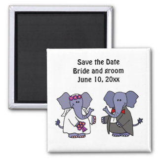 Funny Elephant Bride and Groom Wedding Art Square Magnet