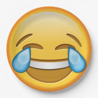 Funny emoji smiley joy laughter paper plate