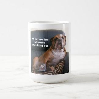 Funny English bulldog Mug watching TV
