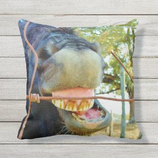 Funny face miniature horse outdoor cushion