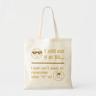 Funny Faces 50th Birthday Gag Gifts Budget Tote Bag