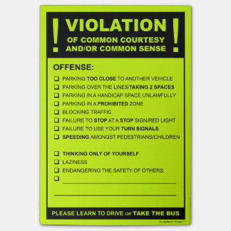 Funny Fake Parking Ticket Driving Citation Post-it Notes