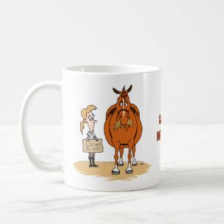 Funny Fat Cartoon Horse Woman Will Work For Hay Coffee Mug