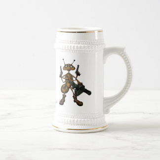 Funny fire ant with guns cartoon art beer mug