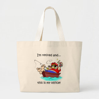 Funny fishing retirement large tote bag