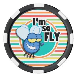 Funny Fly; Bright Rainbow Stripes Poker Chips