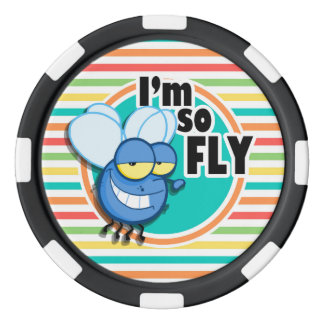 Funny Fly; Bright Rainbow Stripes Set Of Poker Chips