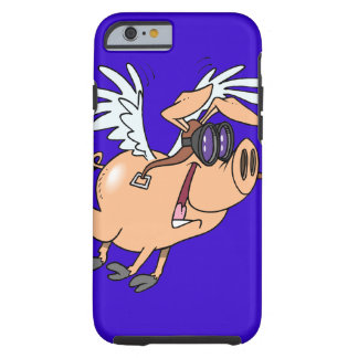 funny flying pig flyer cartoon tough iPhone 6 case