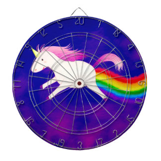 Funny Flying Unicorn Farting a Rainbow Dartboard With Darts