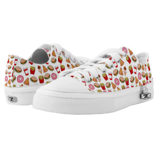 funny foodie patterned printed shoes