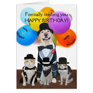 Funny Formal Pets Birthday for Kids Card