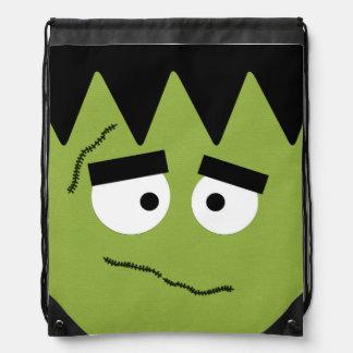 Funny Frankenstein Face for Halloween Drawstring Bag