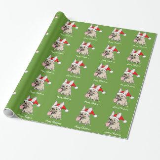 Funny French Bulldog Santa Christmas Pattern Wrapping Paper