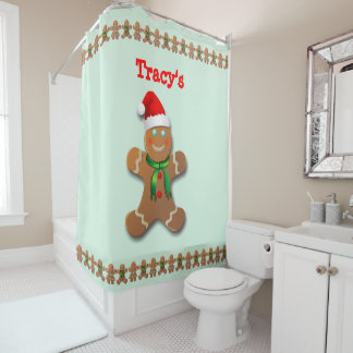 Funny Gingerbread Man with Santa Hat Shower Curtain