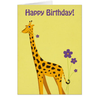 Funny Giraffe Birthday Card