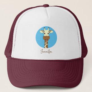 Funny giraffe cartoon blue name hat