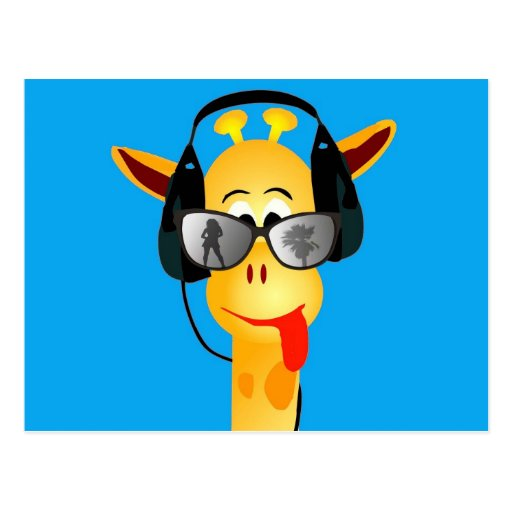 funny giraffe with headphones summer glasses post card
