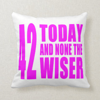 Funny Girls Birthdays  42 Today and None the Wiser Throw Cushion