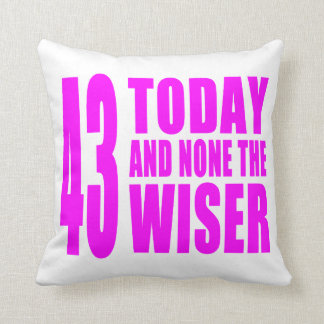 Funny Girls Birthdays  43 Today and None the Wiser Throw Cushion