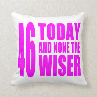 Funny Girls Birthdays  46 Today and None the Wiser Throw Cushion