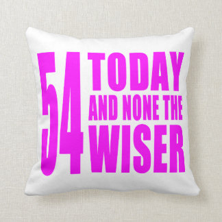 Funny Girls Birthdays  54 Today and None the Wiser Cushions