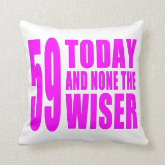 Funny Girls Birthdays  59 Today and None the Wiser Throw Cushion
