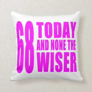 Funny Girls Birthdays  68 Today and None the Wiser Cushions