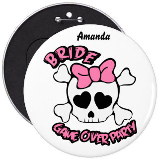 Funny girly skull 6 cm round badge