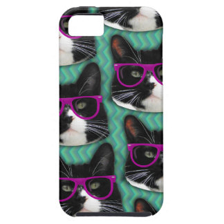 Funny Glasses Tuxedo Cat Pattern iPhone 5 Cover