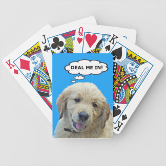 Funny Golden Retriever Puppy Playing Cards