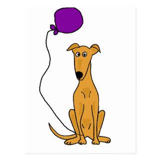 Funny Greyhound Dog with Purple Balloon Postcard