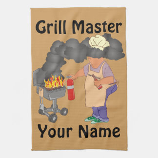Funny Grill Master Personalised Tea Towel