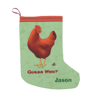 Funny Guess Who Chicken Poo Red Hen Small Christmas Stocking